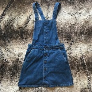 Zara Denim Button Up Suspender Dress